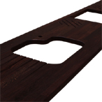 4m lange Wenge-Arbeitsplatte mit Ausschnitt für Einbauspüle, Ablaufrillen, Herdausschnitt, Topfgitter und 6mm Kantenprofil.