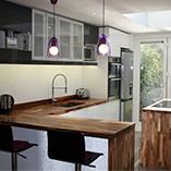 Amerikanischer-Nussbaum sorgt für einen großartigen Effekt mit einem extra weiten Ellipse-Ende auf der Kücheninsel.
