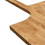 Eiche-Arbeitsplatte mit unregelmäßigem Ausschnitt, Herdausschnitt, zwei 320mm Inner-Radius-Ecken und Ausschnitten für Verbindungsbolzen.