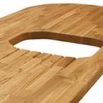 Eiche-Arbeitsplatte mit Ausschnitt für ein Einbauspülbecken, Ablaufrillen, 360mm Ellipse-Ende und zwei 85mm Radius-Ecken.