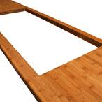 Karamell Bambus Arbeitsplatte mit Ausschnitt für eine aufliegende Spüle.