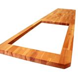 Kirschbaum Arbeitsplatte mit Ausschnitt für ein Spülbecken und Zuschnitt der Ecke.