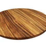 Zebrano Arbeitsplatte mit durchgehenden Lamellen, auf Kundenwunsch zur runden Platte zugeschnitten.