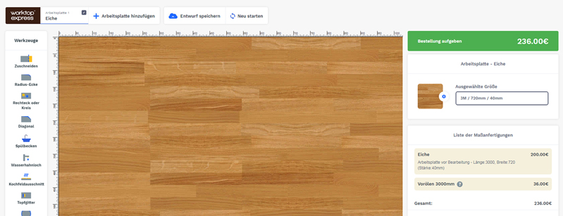 Arbeitsplatten-Konfigurator online: Arbeitsplatten nach Maß ...